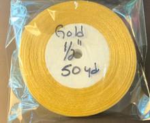 """Organza Ribbon 1/2"""" GOLD 50-yards"""
