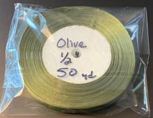 """Organza Ribbon 1/2"""" OLIVE 50-yards"""