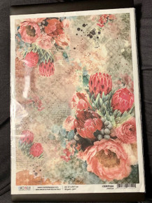 Ciao Bella Papercrafting Rice Paper Protea - Red Flowers
