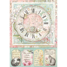 Stamperia Rice Paper Sheet A4 Clock, Orchid, & Cats