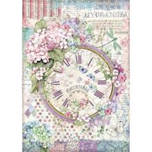 Stamperia Intl Hortensia Clock Face Rice Paper Sheet A4