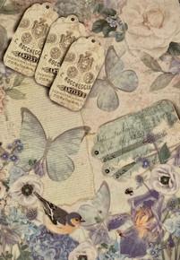 Imagination Crafts A4 Rice Paper- Gentlewoman 2 -Blue Butterflies Hydrangeas