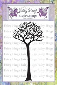 Fairy Hugs Stamp - skinny bare tree tall
