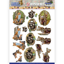 D Push Out - Amy Design – Forest Animals - Fox Bear Raccoon
