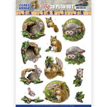 3D Push Out - Amy Design – Forest Animals -Rabbit squirrel Hedgehog