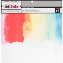 "Vicki Boutin Mixed Media Foundations Paper 12""X12"" 12/Pkg -Smooth White, 140lb"