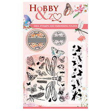 Find It Trading Hobby & Z- Goody Dies, Stamps and Embossing Folder- Dragonflies, Butterflies, and More