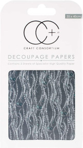 "Craft Consortium Decoupage Papers 13.75""X15.75"" 3/Pkg- Silver Decal"