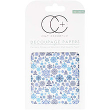 """Craft Consortium Snowflake Damask Decoupage Papers (3/Pack), 13.75"""" x 15.75"""""""