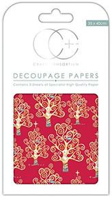 Craft Consortium Red Tree -Decoupage Paper 3/Pk,