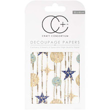 "Craft Consortium White Stars Decoupage Papers (3/Pack), 13.75"" x 15.75"""