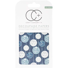 "Craft Consortium Silver Baubles Decoupage Papers (3/Pack), 13.75"" x 15.75"""