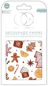 "Craft Consortium Decoupage Papers 13.75""X15.75"" 3/Pkg-Christmas - Gingerbread"