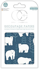 "Craft Consortium Decoupage Papers 13.75""X15.75"" 3/Pkg-Christmas - Polar Express"
