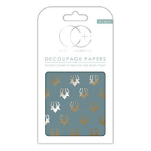 Craft Consortium Decoupage Printed Paper Pack of 3 - Stag Repeat