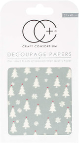 Craft Consortium Decoupage Printed Paper Pack of 3 - Trees & Snowflakes