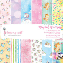 """Dress My Craft 6""""x 6"""" Collection Pack- 24 sheets Magical Unicorns"""