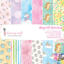 """Dress My Craft 12""""x 12"""" Collection Pack- 24 sheets Magical Unicorns"""