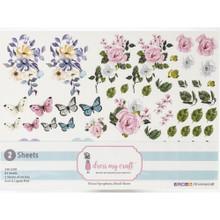Dress My Craft Floral Symphony Motif Sheets- 2, A4 sheets- 83 Motifs