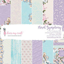 "Dress My Craft Single-Sided Paper Pad 6""X6"" 24/Pkg-Floral Symphony, 12 Designs/2 Each, Multi"