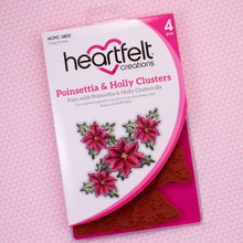 Heartfelt Creations Poinsettia & Holly Clusters Cling Stamps