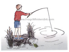 Rosewood- Frog Whiskers Rubber Cling Stamp G1123- Boy Fishing