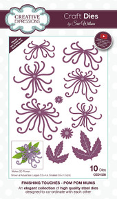 Sue Wilson Designs - Finishing Touches Collection - Pom Pom Mums (CED1528)