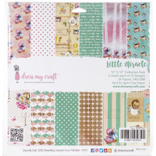 """Dress My Craft HEAVY 12""""x 12"""" Collection Pack- 24 sheets Little Miracle -- For Baby Card!"""