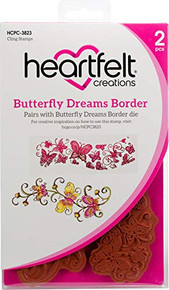 """Heartfelt Creations Cling Rubber Stamp Set 5""""X6.5""""-Butterfly Dreams Border"""