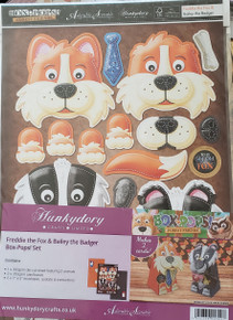Hunkydory Box-Pops! - Forest Friends Freddie the Fox & Bailey the Badger - Makes 2 Cards