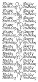 JEJE Peel Sticker- Happy Birthday / Balloons 1.1010 SILVER
