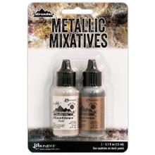 Ranger Tim Holtz Alcohol Ink Metallic Mixatives .5oz 2/Pkg- Pearl & Copper
