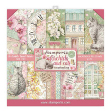 STAMPERIA Paper PAD 12X12 10PK, Orchids and Cats, 10 Designs/1 Each