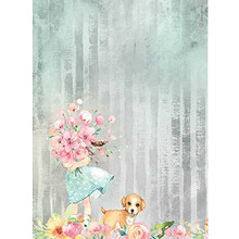 Stamperia Rice Paper Sheet A4-Bouquet & Dog, Circle of Love