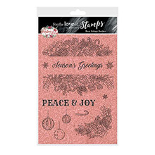 Hunkydory Crafts for The Love of Stamps - Rosy Foliage Border A5 Christmas Stamp Set