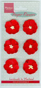 """Marianne Design Papers Flowers -- 6 Red Blooms - Approx 1"""" each"""