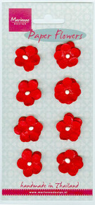 """Marianne Design Papers Flowers -- 8 Small Red Blooms - Approx 3/4"""" each"""