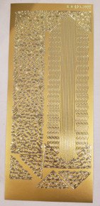 JEJE Peel Sticker- Corners and Straight and Wavy Lines 1.3880 Gold