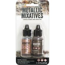 Ranger Tim Holtz Alcohol Ink Metallic Mixatives .5oz 2/Pkg- Rose Gold & Gunmetal
