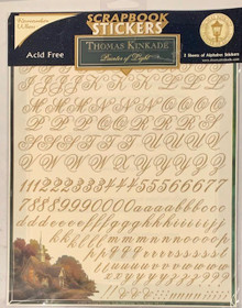 Thomas Kinkaid Scrapbook Alphabet Stickers 2 8.5x11 Sheets of Gold with Clear Background