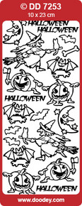 DOODEY DD7253 BLACK Halloween Witch Peel Stickers One 9x4 Sheet