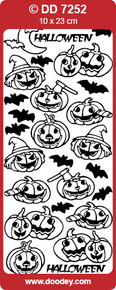 DOODEY DD7252 BLACK Halloween Pumpkins Peel Stickers One 9x4 Sheet