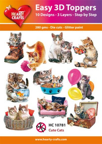 Hearty Crafts Easy 3D Toppers Cute Cats HC10781