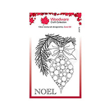 Woodware Jane Gill Clear Magic-Bubble Bauble and Pine Branch-Stamp, A6