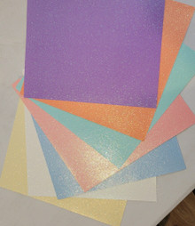 Doodlebug Sugar Coated Papers - Glitter Papers with an Iridescent Sheen! - PASTELS / LIGHTS