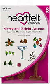 """Heartfelt Creations Cling Rubber Stamp Set 5""""X6.5""""-Merry And Bright Accents"""