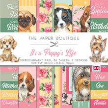 """The Paper Boutique- It's a Puppy's Life- Embellishment Pad 8"""" x 8""""- 36 sheets 6 designs"""