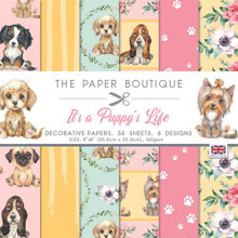 """The Paper Boutique- It's a Puppy's Life- Decorative Papers 8"""" x 8""""- 36 sheets 6 designs"""