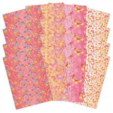 Hunkydory Crafts- Butterfly Blush- Fluttering Butterflies Foiled Edge-to-Edge Cardstock- LFC138