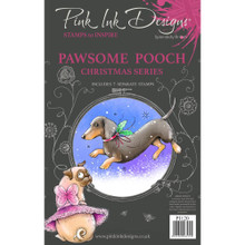 Pink Ink Designs A5 Clear Stamp- Christmas Series- Pawsome Pooch (includes 7 stamps)